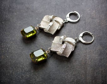 Peridot Rhinestone Assemblage Earrings Antique Rhinestone Baguette Brushed Silver Metal Square Upcycled Repurposed Jewelry Green Retro