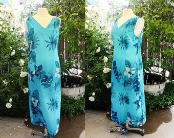 1990's Blue Hawiian Dress Maxi Sag Harbor Size 14 Vintage REtro 90's Turquoise Blue Aqua Aloha Summer Islands Orchids Floral Tropical