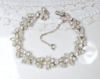 ORA Vintage Art Deco Rhinestone Bracelet, 1920 Bridal Bracelet, Silver Paste Flower Wide Link Great Gatsby Wedding 1930 Flapper Jewelry