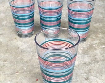 Vintage Set of 4 Fiesta Ware Striped Glasses
