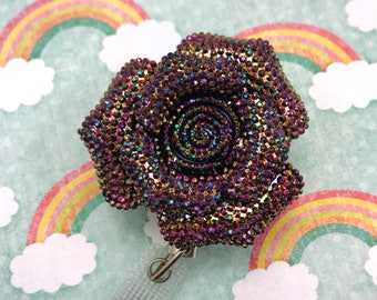 Flower Bling Heavy Duty Steel Cord Durable Kawaii Badge Reel Retractable Work ID Holder Nurse CNA RN Technician Medical