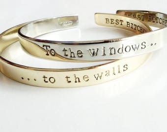 To The Windows, To The Walls Bracelet Set . Get Low Lyric Lil' Jon . To The Window, To The Wall Personalized Jewelry Cuff . TBCO