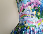 50's style Chasing Rainbows Print Cotton Dress, Unicorns, Pinup, vintage reproduction