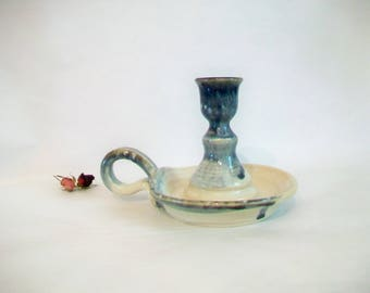 Candlestick Holder  with Handle --   Slate over Cream - Wheel Thrown - OOAK - Ready to Ship