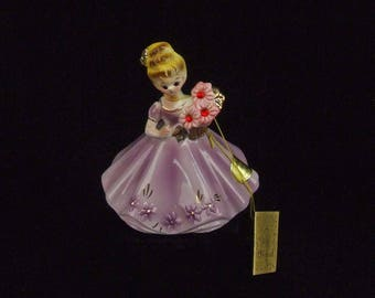 Vintage Josef Original July Ruby Birthday Porcelain Lady Figurine With Hang Tag and Paper Label