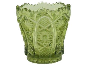Vintage Fostoria Green Pattern Glass Toothpick Holder