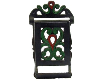 Antique Match Safe Matchstick Holder Country Farmhouse Collectible Cast Iron Wall Mount Match Holder Hand Painted Green Red & Black