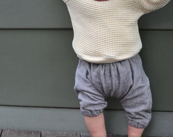 japanese cotton gray harem pants for baby NON NOON / grey double gauze baby boy girl infant pants / newborn 3 6 9 12 18 months