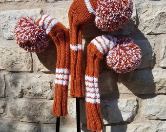 Retro Hand Knit Golf Club Head Covers Set of 3 Orange and White with Pom Poms