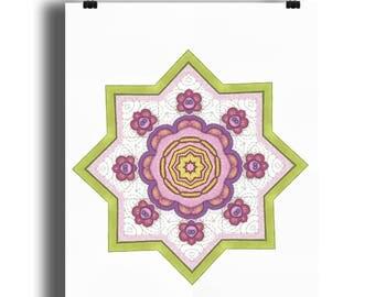 Elsie mandala 4 A4 print, Floral print, mandala style print, Art Nouveau style floral print, star floral print, from an original drawing