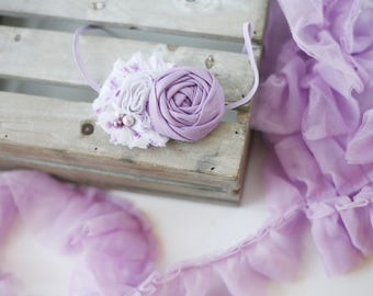 Song and Dance- white and lavender chiffon and rosette headband bow