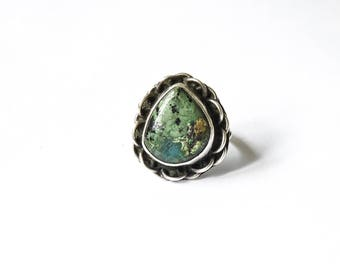Vintage Mexican Sterling Silver Ring With Turquoise c.1960s