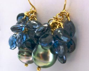 18K Tahitian Black Pearl Earrings, 18K London Blue Topaz Dangle Earrings