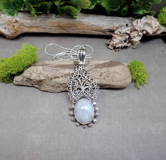 Bohemian Moonstone Necklace - Gemstone Necklace - Paisley Gemstone Pendant - Sterling Silver