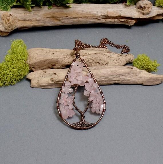 Rose Quartz Tree of Life Necklace - Quartz Necklace - Gemstone Necklace - Rose Quartz Pendant - Teardrop Tree Necklace - Pink Tree Necklace