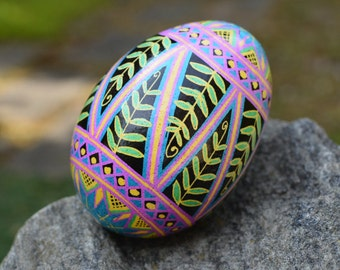 Pysanka egg with ferns and swirls bohemian freehand drawn design  amazing gift for new mommies symbol of new life new leaf meaningful gifts