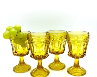 Vintage Amber Small Wine Glasses, Anchor Hocking Fairfield, Mid Century Glass