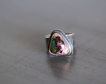 Mexican Fire Opal Ring, Boulder Opal Ring, Black Opal Ring - Collector Stone - Keeper of Secrets - Size 7.5, Size 7.75