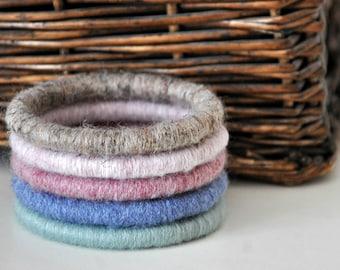 Set of 5 Fiber Wrapped Yarn Bangle Bracelets Rustic Jewelry Women's Accessory Pastels
