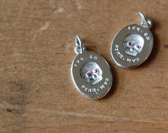 ES FUI sterling + gemstone eye skull pendant ∙ Victorian Memento Mori casting ∙ Latin epitaph Es, Fui; Sum, Eris