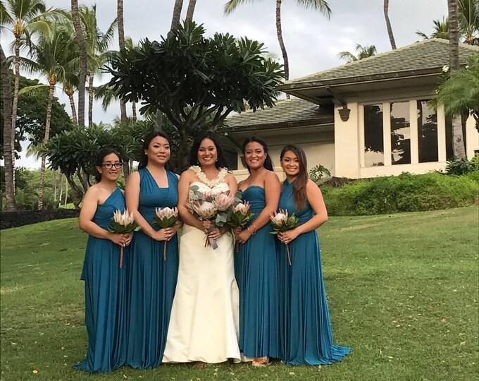 "Ready Made Petite, 49"" long Bixby Peacock Octopus Infinity Wrap Dress~ Bridesmaids, Weddings, Maternity, Plus Size"