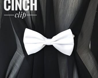 White Bow Tie Cinch Clip Sister