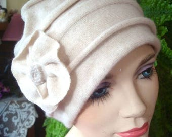 womens hat soft hat cashmere ooak beige womens chemo hat headcover cosy hat