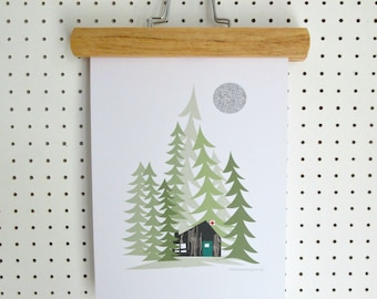 Log Cabin In the Woods Alpine Forest Print A4 Poster Artwork