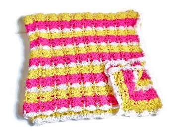 Crochet Afghan Throw Pink Yellow White Striped Blanket Handmade Knitted Bright Colors Toddlers Girls Teens Women