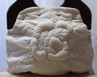 MILESTONE SALE 40% OFF, Cream White Bermuda Bag, Quilted Flower Bermuda Purse