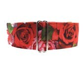 Valentine Martingale Collar, Red Roses Martingale Collar, Valentine Dog Collar, Red Roses Dog Collar, Greyhound Martingale Collar