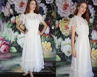 70s Vintage Gunne Sax White Lace Boho Victorian Prairie Maxi Wedding Dress - 70s Clothing - WV0434