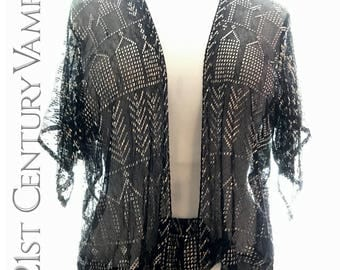 1920s Assuit Jacket. Art Deco. Angel Wing sleeves. Black and Silver. Flapper. Jazz Age. Egyptian Revival. Egyptomania. Volup.