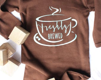 Freshly Brewed Newborn Gown. 0-3 month. Coffee Lovers Baby Gown.