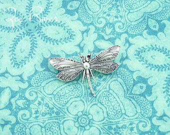 Silver dragonfly brooch. Silver dragonfly jewelry. Small dragonfly brooch. Dainty dragonfly brooch. Antiqued silver dragonfly brooch.