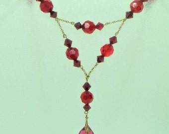 Red Glass Deco Necklace... Bright Red Drop... c.1930s