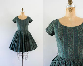 1960s Walk Among The Pines cotton day dress / 60s greenery