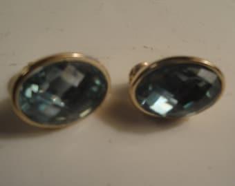 Signed JJG Oval Aquamarine Diamond Cut Stone Gold Tone Clip-on Earrings.
