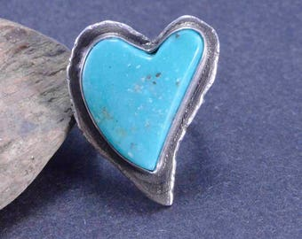 Turquoise Heart Ring, Raw Silver Ring, Statement Heart Ring, Boho, Silversmith, Size 7 1/4