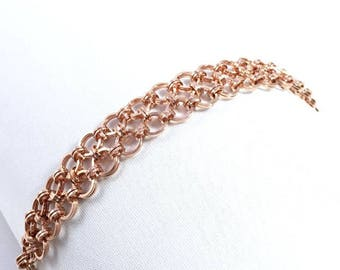 Copper Japanese Chainmaille Bracelet with Square Wire