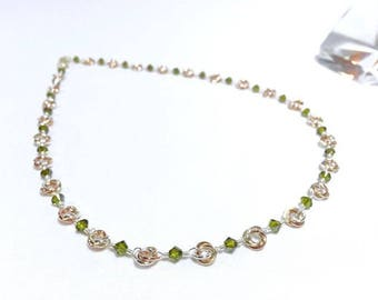 Beaded Chainmaille Mobius Necklace with Olive Crystals in Sterling Silver Gold Fill and Copper