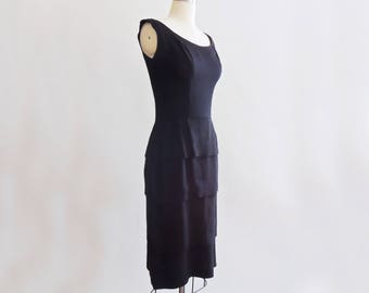 1960's Black Rayon Tiered Wiggle Dress // Vintage Little Black Dress // Size Small
