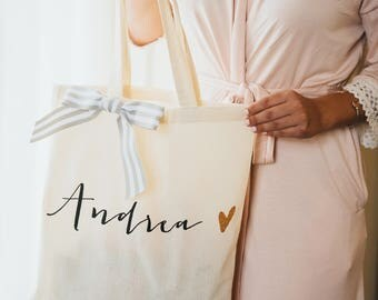 Personalized Bag Gift for Bridesmaids, Canvas Bag w/Striped Ribbon Gift for Wedding Bridal Party, Bridesmaids Gift ( Item - BPB300)