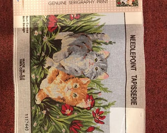 "Needlepoint / Tapisserie, Genuine Serigraphy Print, Canvas Only 9 x 12"""", Printed by Grafitec Ltd"