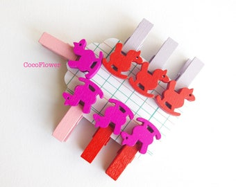 Clothespins rocking horse baby shower guest pins - 7 handmade mini wood clothespin - Red/Fuchsia or Yellow/Orange
