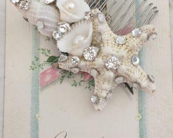 White Starfish Wedding Headpiece - Starfish Hair Comb - Sea Shell Wedding Hair Accessory - Shell Wedding Hair Comb-White Starfish Hair Comb
