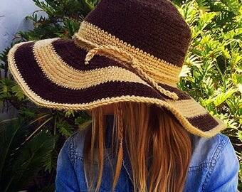 Sun Hat Crochet Pattern, Large Brim Hat, Beach Hat, Crochet Pattern, Floppy Hat Crochet Pattern, Women's Hat, Girls Hat, Boho Hat Crochet