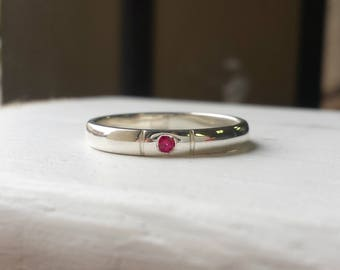 Minimalist Ruby Ring - Simple Silver Band Ring - Lab Created Ruby Engagement Ring, Birthstone Stacking Ring, Flush Set