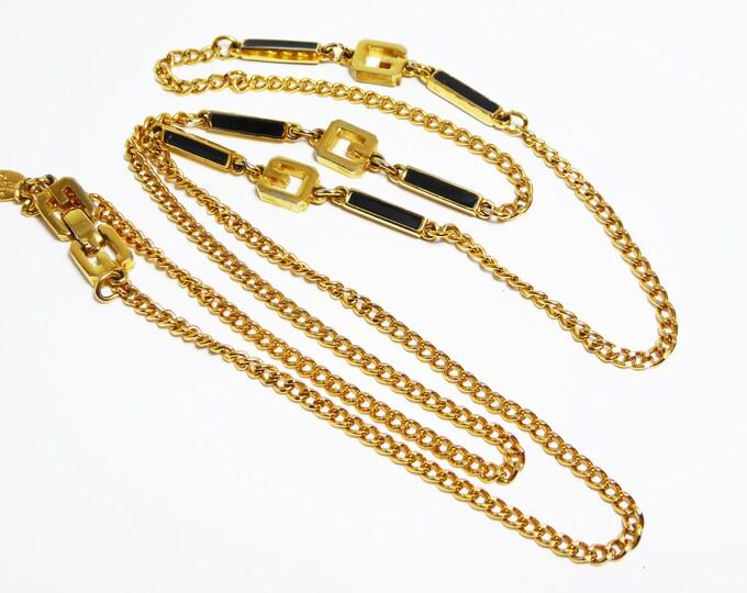 Gold Tone & Black Enamel Sautoir Necklace Signed Givenchy Paris New York 1976 - Vintage Gold Plated Chain - Rectangle Bar Links, Monogram G