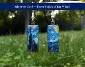 Starry Night earrings, Van Gogh earrings, art earrings, Van Gogh Starry Night jewelry, small glass earrings, classic art jewelry